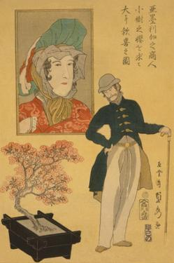 American Merchant Delighted with Miniature Cherry Tree by Sadahide Utagawa