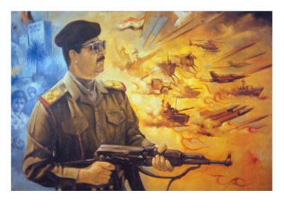 Saddam Hussein Fresco at Basra Depicting Him in Heroic Style