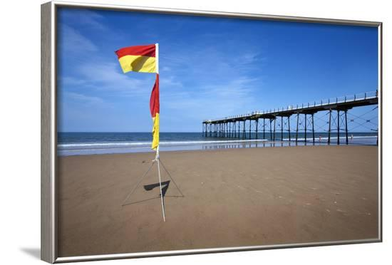 Safe Bathing Flag on the Beach at Saltburn by the Sea-Mark Sunderland-Framed Photographic Print