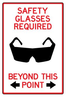 Safety Glasses Required Past This Point Sign Poster
