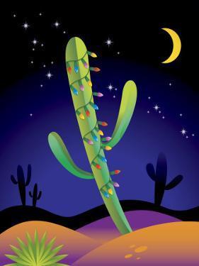 Saguaro Cactus Decorated with Christmas Lights