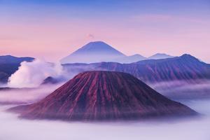 Bromo, Batok and Semeru Volcanoes at Sunrise, Java Island, Indonesia by saiko3p