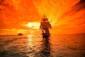 Sailboat and Tall Ship the Pacific Ocean, Dana Point Harbor, Dana Point, Orange County, CA