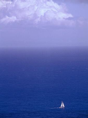 Sailboat in Pacific Ocean off Oahu, Hawaii