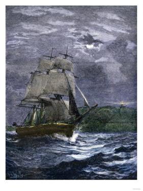 Sailing Ship Passing a Lighthouse Marking the Way to Home Port, 1800s