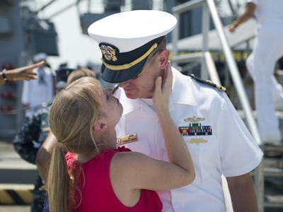 Sailor Says Goodbye to His Wife Prior to Deployment