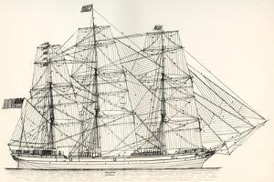Sails and Rigging of a Mid-19th Century Clipper. from the National Encyclopaedia, Published C.1890