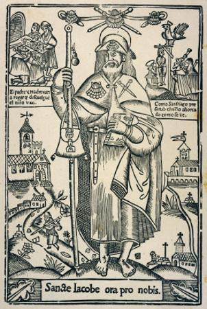 Saint James the Great in the Traditional Costume of a Pilgrim to Compostella in Northern Spain
