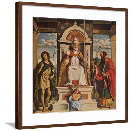 Saint Peter enthroned with Saints, John the Baptist and Saint Paul', c1516-Giovanni Battista Cima da Conegliano-Framed Giclee Print