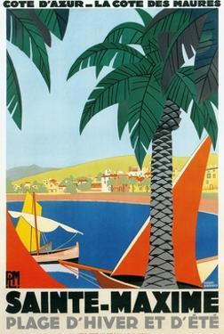 Sainte Maxime, Cote De Azure French Travel Poster