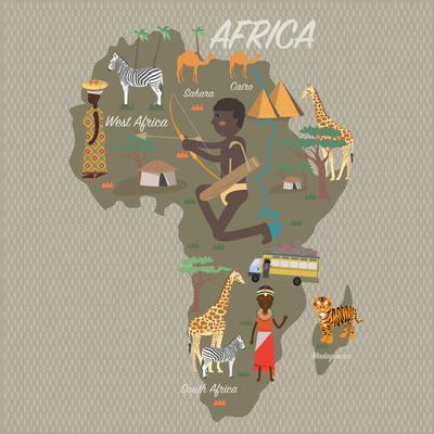Africa Map and Travel Eps 10 Format
