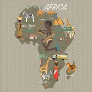 Africa Map and Travel Eps 10 Format by Sajja