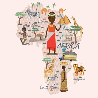 Africa Map and Travel for Tourist Eps 10 Format by Sajja
