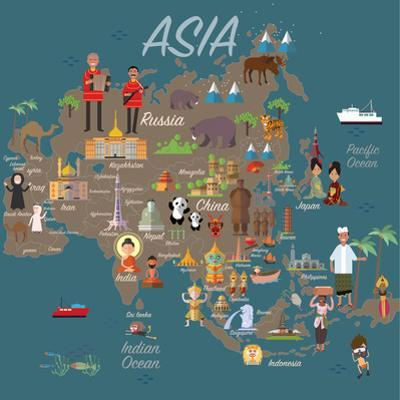 Asia Map and Travel Eps 10 Format by Sajja