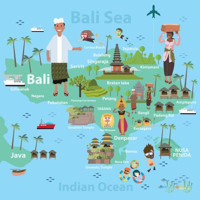 Bali Indonesia Map and Travel Eps 10 Format