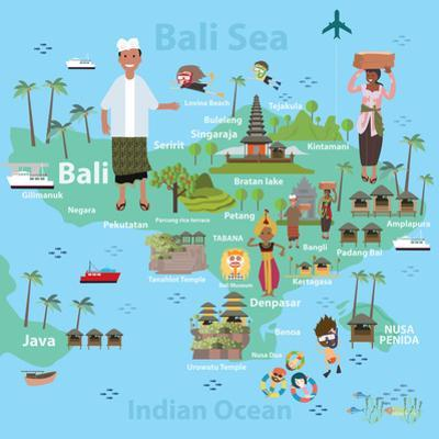 Bali Indonesia Map and Travel Eps 10 Format by Sajja