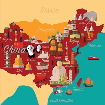 China Map and Travel.China Landmark Eps 10 Format