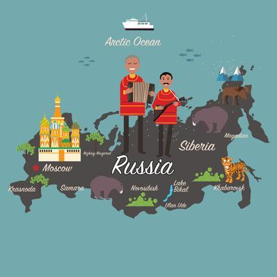 Russia Map and Travel Eps 10 Format