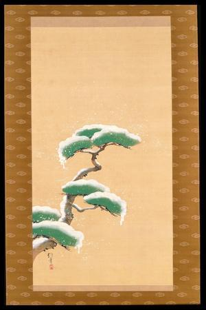 Hanging Scroll Depicting a Snow Clad Pine, from a Triptych of the Three Seasons, Japanese