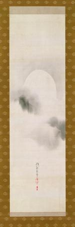 Hanging Scroll Depicting the Autumnal Moon, from a Triptych of the Three Seasons, Japanese