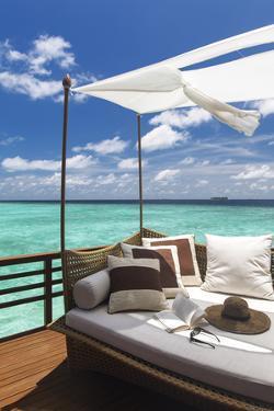 Sofa Overlooking Ocean, Maldives, Indian Ocean, Asia by Sakis Papadopoulos