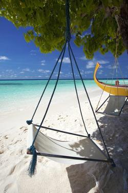 Swing and Traditional Boat on Tropical Beach, Maldives, Indian Ocean, Asia by Sakis Papadopoulos