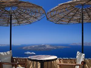 Terrace Overlooking the Caldera, Santorini, Cyclades, Greek Islands, Greece, Europe by Sakis Papadopoulos