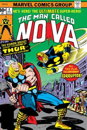 Nova: Origin Of Richard Rider - The Man Called Nova No.4 Cover: Nova and Thor by Sal Buscema