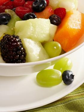 Salad with a Variety of Fruits Including Blackberries, Blueberries and Grapes