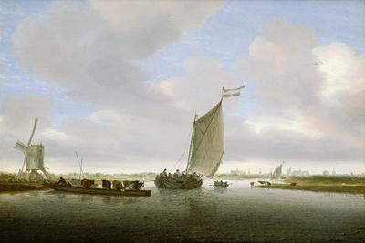 An Estuary Scene with Cattle Aboard a Ferry and a Windmill Beyond