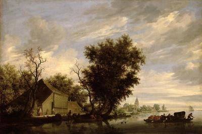 River Scene with a Ferry Boat