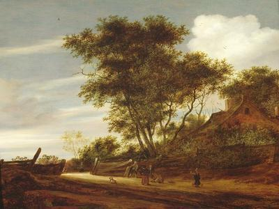 Wooded landscape with children playing on the road by a cottage, 1658