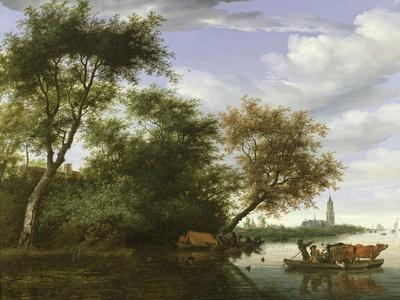 Wooded River Landscape with Figures and Cattle on a Ferryboat