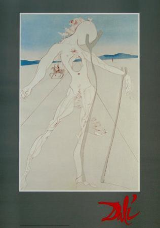 Man Pillowed on Two Wooden Crooks by Salvador Dalí