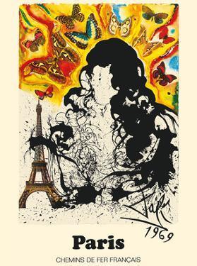 Paris, France - Eiffel Tower - Chemins De Fer Francais (French National Railroads) by Salvador Dali