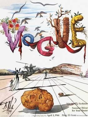 Vogue Cover - April 1944 - Dali's Surealist Vogue by Salvador Dalí