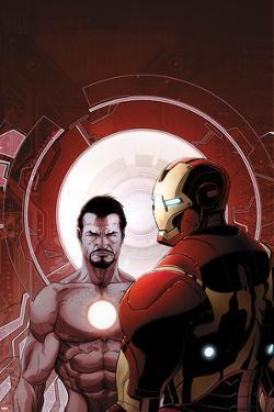 Invincible Iron Man No.503 Cover: Iron Man and Tony Stark by Salvador Larroca