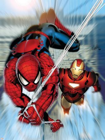 Invincible Iron Man No.7 Cover: Iron Man and Spider-Man