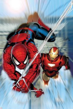 Invincible Iron Man No.7 Cover: Iron Man and Spider-Man by Salvador Larroca