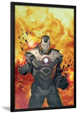 Iron Man 2.0 No.7 Cover: War Machine Standing and Flaming by Salvador Larroca