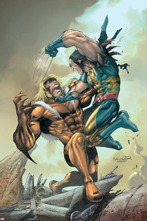 X-Men No.164 Cover: Wolverine and Sabretooth