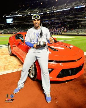 Salvador Perez with the World Series MVP Trophy Game 5 of the 2015 World Series