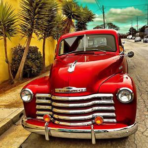 Shining Red Paintwork on Edited Scene of Classic Car in America by Salvatore Elia