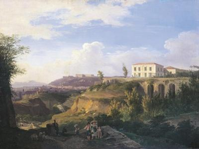 Italy, Naples, View of Villa Ruffo Homestead in Capodimonte, 1826