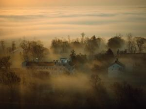 Morning Mist over the Restored Shaker Village at Pleasant Hill by Sam Abell