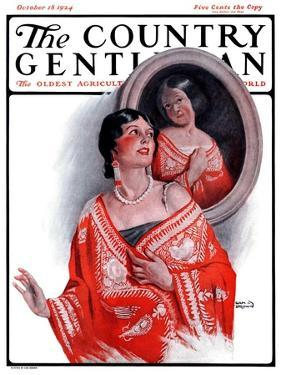 """""""Ancestral Shawl,"""" Country Gentleman Cover, October 18, 1924 by Sam Brown"""