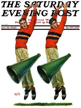 """""""Cheerleaders,"""" Saturday Evening Post Cover, October 18, 1930 by Sam Brown"""