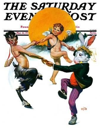 """""""Dancing in Spring,"""" Saturday Evening Post Cover, March 16, 1929"""
