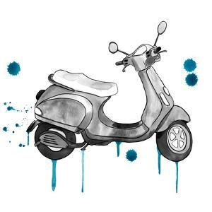 Scooter Away Blue Accents by Sam Nagel