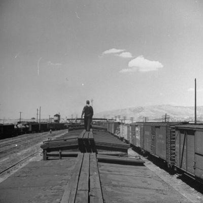 Man Walking Atop a Freight Train Heading Westbound by Sam Shere